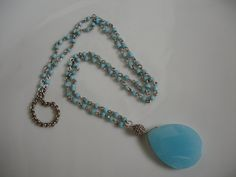 Aqua Blue Chalcedony Teardrop Pendant with by ClassicModernNatural