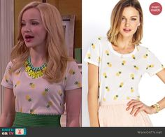 Liv's pineapple printed tee on Liv and Maddie.  Outfit Details: http://wornontv.net/41077/ #LivandMaddie