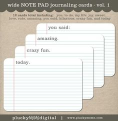 Printable Large NOTE PAD Journaling Cards for Scrapbooking or Project Life. $4 via Plucky Momo