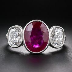 649efb8bd17eb 3.13 Carat Ruby and Diamond Three-Stone Ring