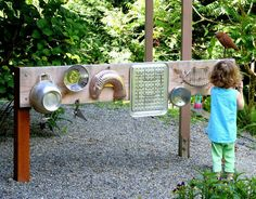Backyard Design: DIY Outdoor Sound Wall/Music Station Post includes details on how to build your own FUN AT HOME WITH KIDS -lots of sensory ideas *classroom music wall? Diy Projects For Kids, Diy For Kids, Cool Kids, Outdoor Projects, Kids Crafts, Backyard Play, Backyard Landscaping, Landscaping Ideas, Backyard Ideas