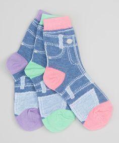 Look at this LittleMissMatched Lavender, Green & Pink Denim Anklet Socks Set on #zulily today!