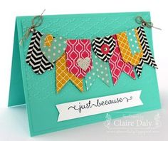 Stampin Up DSP card using Hearts a Flutter framelits, Modern Medley DSP, Quatrefancy DSP, Afternoon Tea DSP #banners #stampinup  Claire Daly, Stampin' Up! Demonstrator Melbourne Australia