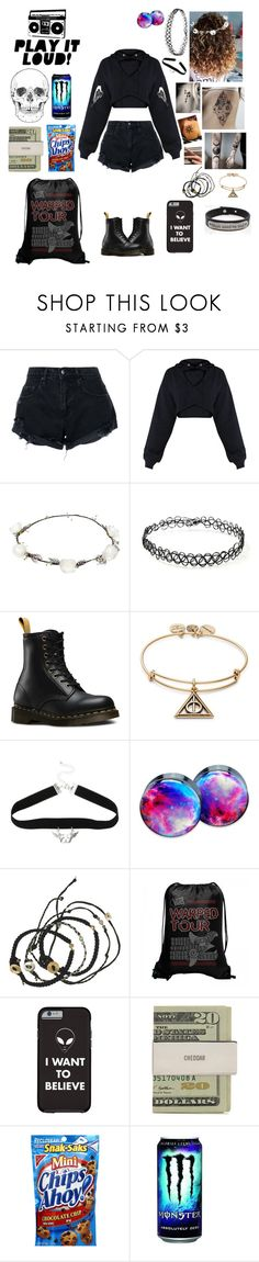 """""""Warped tour 2018 is the last tour😪🤧😭😭😭😭😭😭😭"""" by marydonnelly1 ❤ liked on Polyvore featuring Nobody Denim, Lipsy, Forever 21, Dr. Martens, Alex and Ani, Hot Topic, Scosha and Pink Box"""