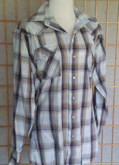 Vintage Rockabilly Country Western Blue Khaki Plaid LS Shirt Pearl Snaps  Medium GUC 79ec486e4
