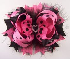 Hot Pink and Black Polka Dot Fluffy Stacked Boutique Bow with Rhinestone Heart Slider
