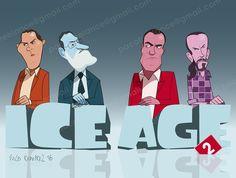 Pablo Iglesias, Pedro Sanchez, Rajoy y Albert Rivera...¿quién rompe el hielo? By Paco Ramirez&Mr.Illustrator
