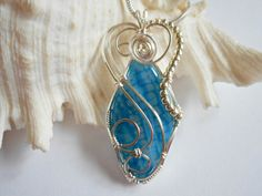 Wire Wrapped Jewelry, Pendant Necklace, Blue Dragon Vein Agate, Handmade 153999 by elainesgems, $24.00 USD