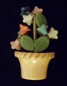 Vintage Bakelite Flower Brooch Pin Moveable Trembler EARLY C Clasp Figural DECO #Unbranded