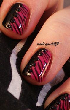 Pink Zebra Print Nail Art