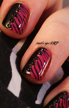 Pink Zebra Print Nail Art--get all dolled up for your next party!