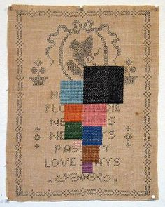"Stephen Sollins | Elegy (...Love Stays) | added embroidery & removed embroidery | 11.2"" x 8.6"" 