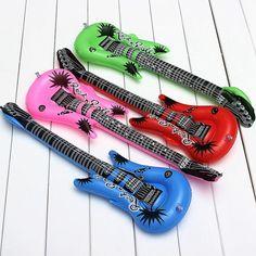 面白いカラフルなpvcインフレータブルギターおもちゃ岩ロール応援空気風船インフレータブルおもちゃ子供誕生日パーティーの好意用品