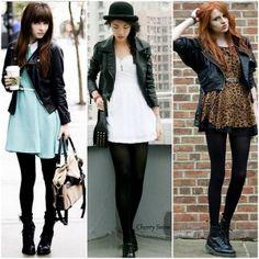 como usar vestidos com jaqueta de couro