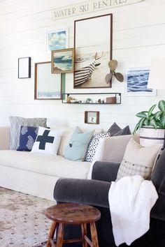 Fancy Farmhouse | Crisp Cottage | Living Room | Gallery Wall | RugsUSA | Cisco Seda Sofa - Vintage and antique nautical finds at Ruby Lane. www.rubylane.com #rubylane @rubylanecom