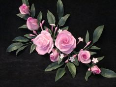 cake topper pink gumpaste roses and chinese  jasmine