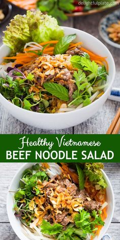 Vietnamese beef noodle salad (bun bo xao) is packed with fresh herbs, flavorful beef on top of rice vermicelli noodles, lettuce, and refreshing lime fish sauce dressing. It is a quick and easy one bowl meal for weeknight dinner. Side Dish Recipes, Asian Recipes, Beef Recipes, Cooking Recipes, Healthy Recipes, Noodle Recipes, Fast Recipes, Kitchen Recipes, Side Dishes