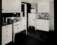 Steel Kitchen Cabinets – History, Design and FAQ ---- Retro Renovation. Very detailed article with lots of information and graphs. Metal Kitchen Cabinets, Kitchen Drawers, Kitchen Cabinet Design, Kitchen Decor, Kitchen Pics, Kitchen Pantries, 1930s Kitchen, Vintage Kitchen, Country Kitchen