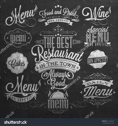 Illustration Of Vintage Typographical Element For Menu On Chalkboard - 177760244…