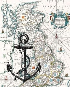 World map fabric make a quilt highlighting everywhere youve black anchor print on antique map of england wall map by printland ignore the giant anchor but the maps do get this detailed and hard to read publicscrutiny Gallery