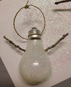 snowman lightbulb ornament toutorial