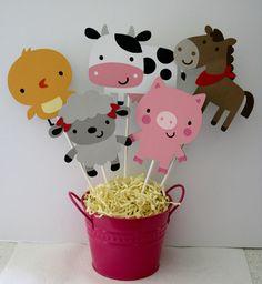 Farm animal centerpiece, Farm themed birthday, animal party by HandmadecardsbyHJM on Etsy https://www.etsy.com/listing/248469746/farm-animal-centerpiece-farm-themed