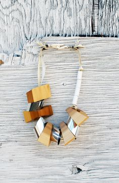 Blocklace wooden bead necklace by Nancy Stello Soto. Rustic Beauty.