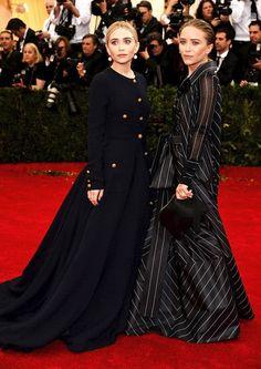 Olsens Anonymous Blog What Mary Kate Ashley Olsen Wore 2014 Met Gala Metropolitan Museum Of Art Drop Pearl Earrings Vintage Chanel Button Do...