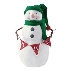 Home Decor Christmas Holiday Snowman Figurine with Banner, Medium
