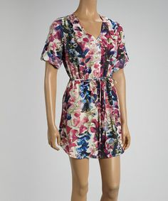 Another great find on #zulily! Pink & Blue Floral Cinch-Waist Dress by Mimi Chica #zulilyfinds