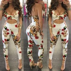 Low Cut Side Lace-up Floral Skinny Jumpsuit https://bellanblue.com/collections/new