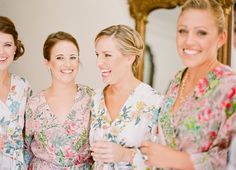 Whether you're spending your morning alone with your mom or with a group of your sorority sisters, create an easy, fun ambiance in which to get ready. Have one of your bridesmaids arrive prepared with a playlist, make time to eat together whether you're munching throughout the day on quick finger foods or sitting down for a more formal breakfast complete with mimosas, Robes are a great option because they are feminine, comfortable, and will not mess up your hair (a serious win).