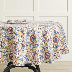 "Williams Sonoma  Porto Tile 70/"" Round Tablecloth Cotton New"