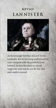 Kevan Lannister | Game of Thrones Game Of Thrones Images, Game Of Thrones Facts, Got Game Of Thrones, Game Of Thrones Quotes, Game Of Thrones Funny, Familia Lannister, Game Of Thrones Instagram, Got Characters, Plus Tv