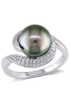Michiko - 0.16ct Diamond & 9-9.5mm Black Tahitian Pearl Ring