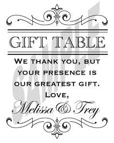Wedding Reception Gift Table