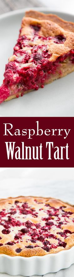 Everyone loves this raspberry walnut tart! with a shortbread crust, chopped walnuts, raspberries, and custardy filling. Perfect for a holiday gathering!