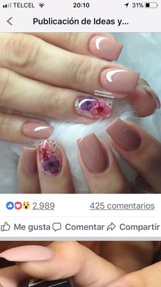 Polygel Nails, Glam Nails, Pink Nails, Cute Nails, Pretty Nails, Diy Acrylic Nails, Magic Nails, Manicure E Pedicure, Flower Nails