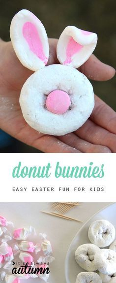These cute mini donut bunnies are perfect for the kids' table at Easter brunch. Using just two ingredients, they're a fun and easy Easter craft and a yummy treat for kids.