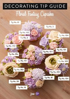 This handy decorating tip guide is a useful tool when piping different buttercream flowers as the guide clearly illustrates what piping tip was used for each decoration C. Frost Cupcakes, Cupcakes Flores, Floral Cupcakes, Cupcake Bouquets, Fancy Cupcakes, Pretty Cupcakes, Frosting Flowers, Buttercream Flower Cake, Cake Icing