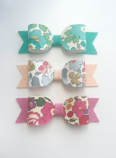 Liberty of London fabric Betsy bow felt hair by FromLilyWithLoveUK