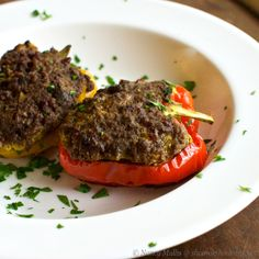 Stuffed Peppers with Curried Beef, Dried Dates, Coriander and Walnut (grain-free, pork-free, dairy-free)