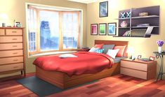 Can someone help me edit this bedroom so it's daytime instead of nighttime ; Fancy Bedroom, Pink Bedroom For Girls, Bedroom Night, Bedroom Red, Episode Interactive Backgrounds, Episode Backgrounds, Anime Backgrounds Wallpapers, Anime Scenery Wallpaper, Bedroom Designs Images