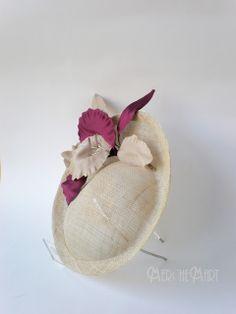 tocado en sinamay y flor artesanal