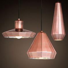 Modern Stylish Glass Copper Mirror Shade Single Light Pendant Light Chandelier…