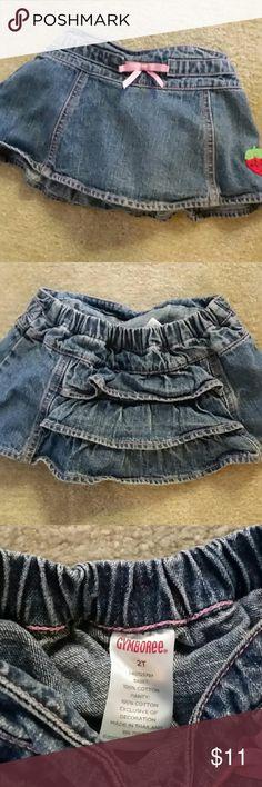 Gymboree ruffled denim skort Cute heavy denim skort. Cute strawberry patch! Gymboree  Skirts Mini