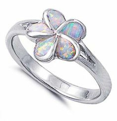 925 STERLING SILVER LAB-CREATED PINK OPAL FLOWER RING