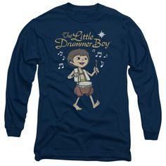 Little Drummer Boy/Starlight Long Sleeve Adult T-Shirt 18/1 in Navy