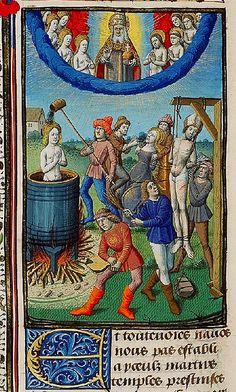 Martyrdom St. John---St.Cyprian of Carthage----St.Apollonia. France c. 1475-80. Maitre Francois. Hague 10A11 KB