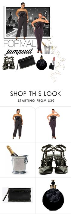 """How I Rock a Formal Jumpsuit"" by empresslolah ❤ liked on Polyvore featuring Ashley Stewart, Match, Valentino, MAC Cosmetics, plussize, atlanta, Curvygirl and formaljumpsuit"